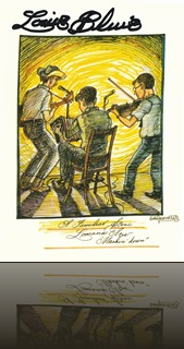 Howard Armstrong art:  Postcard promoting Centrum's Festival of American Fiddle Tunes/bb