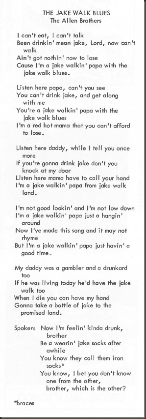 Jake Walk Blues Lyrics from Stash-110 insert/bb