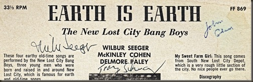 Earth To Earth autographed back cover/bb